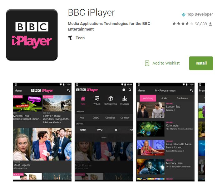 bbc iplayer on play store