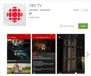 CBC TV app on Play Store