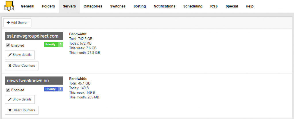 Sabnzbs Usenet Dual Server Setup